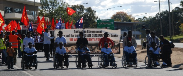 Photo taken of Tamil hunger strikers leading the rally to DFAT