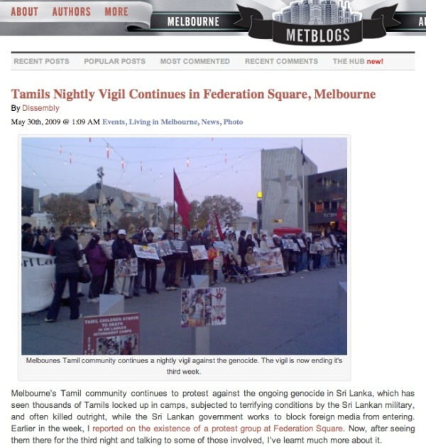 http://melbourne.metblogs.com/2009/05/30/tamils-nightly-vigil-continues-in-federation-square-melbourne/