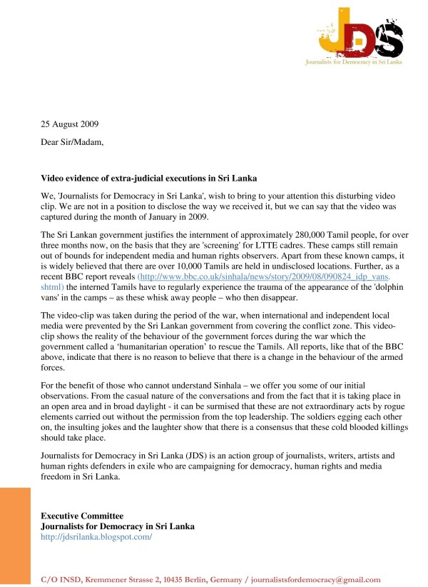 JDS Letter